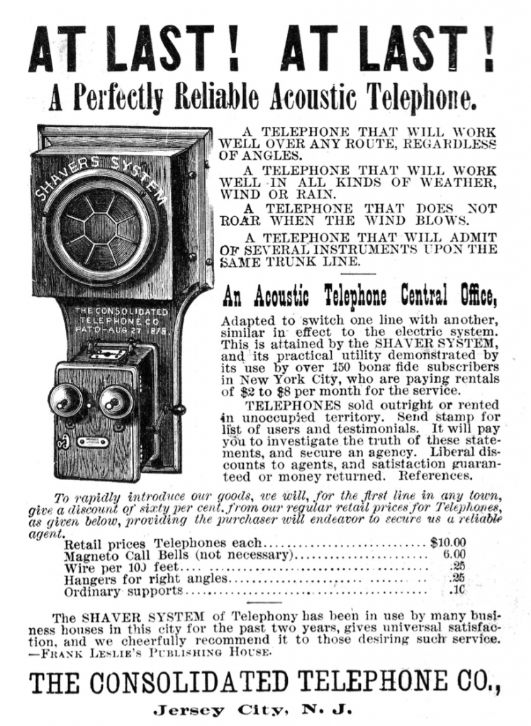 "Advertisement for an acoustic telephone system by the Consolidated Telephone Co., Jersey City, NJ 1886,  from ""Frank Leslie's Popular Monthly Magazine"" Vol. XXI, No. 1, January, 1886, New York: Frank Leslie (Publisher)   Digitised by Centpacrr on August 3, 2013"