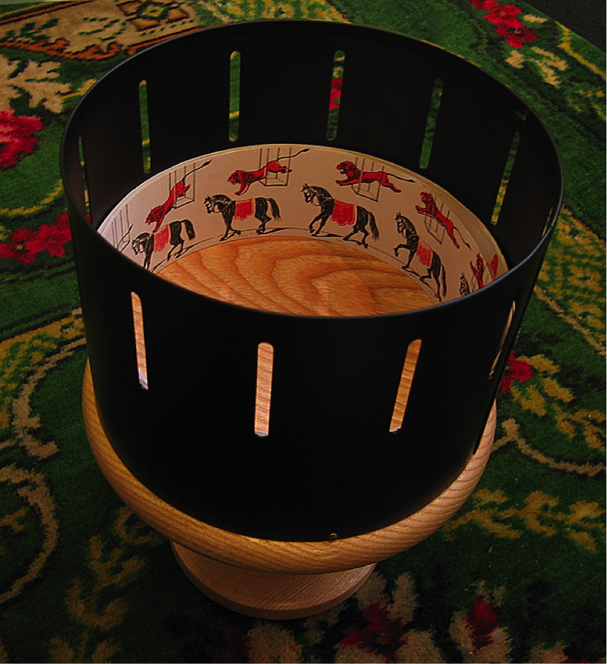 A modern replica of a Victorian zoetrope Photograph © Andrew Dunn, 5 November 2004. http://www.andrewdunnphoto.com/