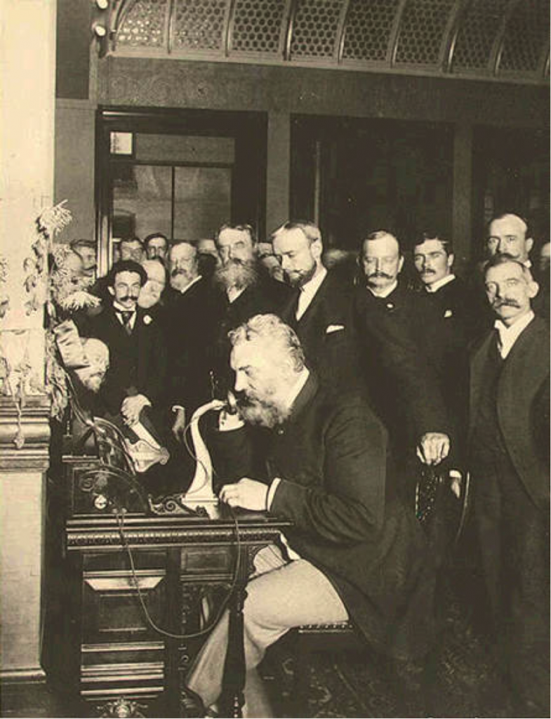 Bell on the telephone in New York (calling Chicago) in 1892 Gilbert H. Grosvenor Collection, Prints and Photographs Division, Library of Congress.